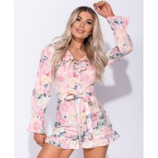 Floral Frill Detail Long Sleeve Belted Playsuit