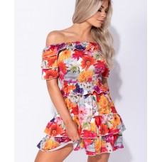 Floral Shirring Detail Multi Layered Bandeau Dress