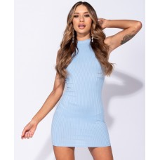 High Neck Rib Sleeveless Bodycon Mini Dress